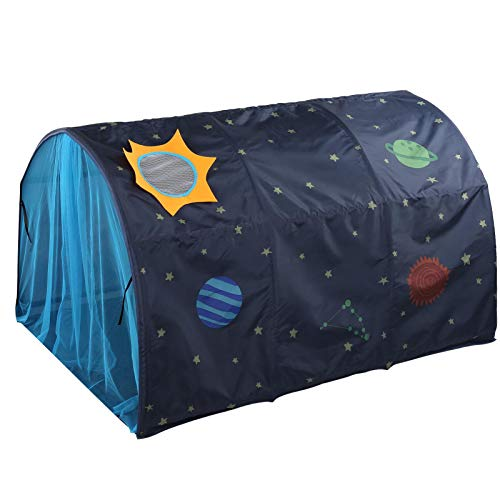 TOPINCN Kids Play Bed Tent Children Play Tunnel Tent Sky Dream Bed Tents Double Net Curtain & Carry Bag for Kids Portable Pop Up Baby Toddlers Play-housing(Blue)