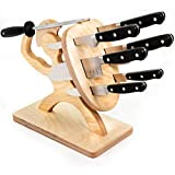 Spartan Knife Block - Handmade Premium Birch - Holds Your 6 Knives, Solid, Heavy, Magnetic Steel Holder (Knife Set & Block)