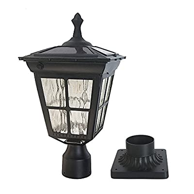 Kemeco ST4311AQ White LED Cast Aluminum Solar Post Light Fixture with 3-Inch Fitter Base for Outdoor Garden Post Pole Mount