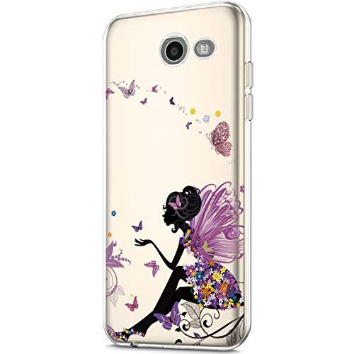 Galaxy J7 Case(2017)/J7 Prime Case/J7 Sky Pro Case/J7 Perx Case,Clear Soft TPU Transparent Flexible Soft Rubber Gel TPU Protective Case Cover for Galaxy J7 2017 Case,Butterfly Angel girl