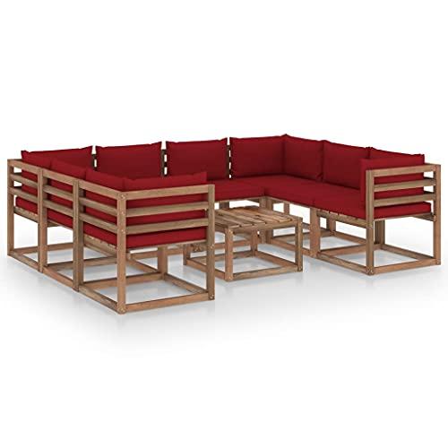 vidaXL Set di mobili da giardino, 9 pezzi, con cuscino rosso vino rosso
