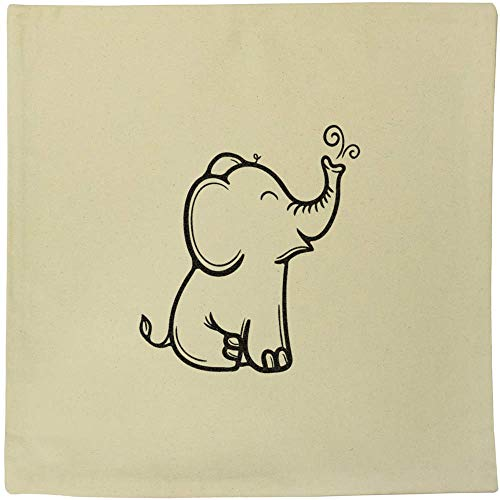 Azeeda 40cm x 40cm 'Happy Elephant' Canvas Cushion Cover (CV00018030)