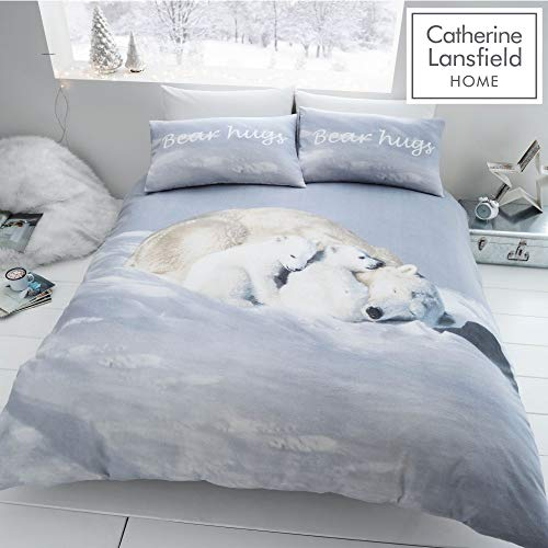 Catherine Lansfield Brushed Polar Bear Single Duvet Set White