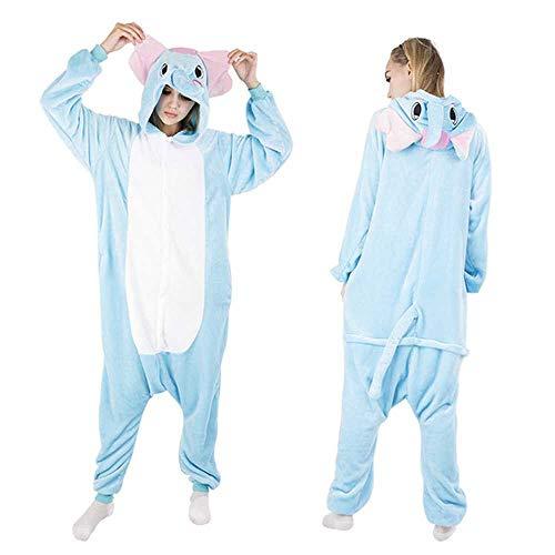 Warmer Schlafanzug mit Kapuze und Einhorn, für den Winter Gr. Large, Schlafanzug Elefant