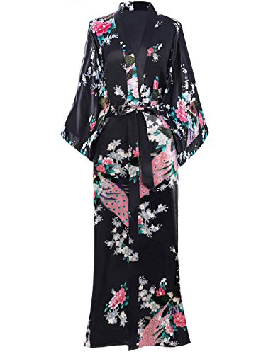 BABEYOND Vestaglia Kimono Donna Kimono Donna Lungo Pigiama Kimono Donna Vestaglia Kimono Raso con Cintura Nero