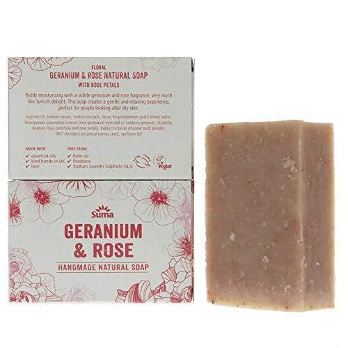 Suma Handmade Soaps   Rose & Geranium Soap   1 x 95g
