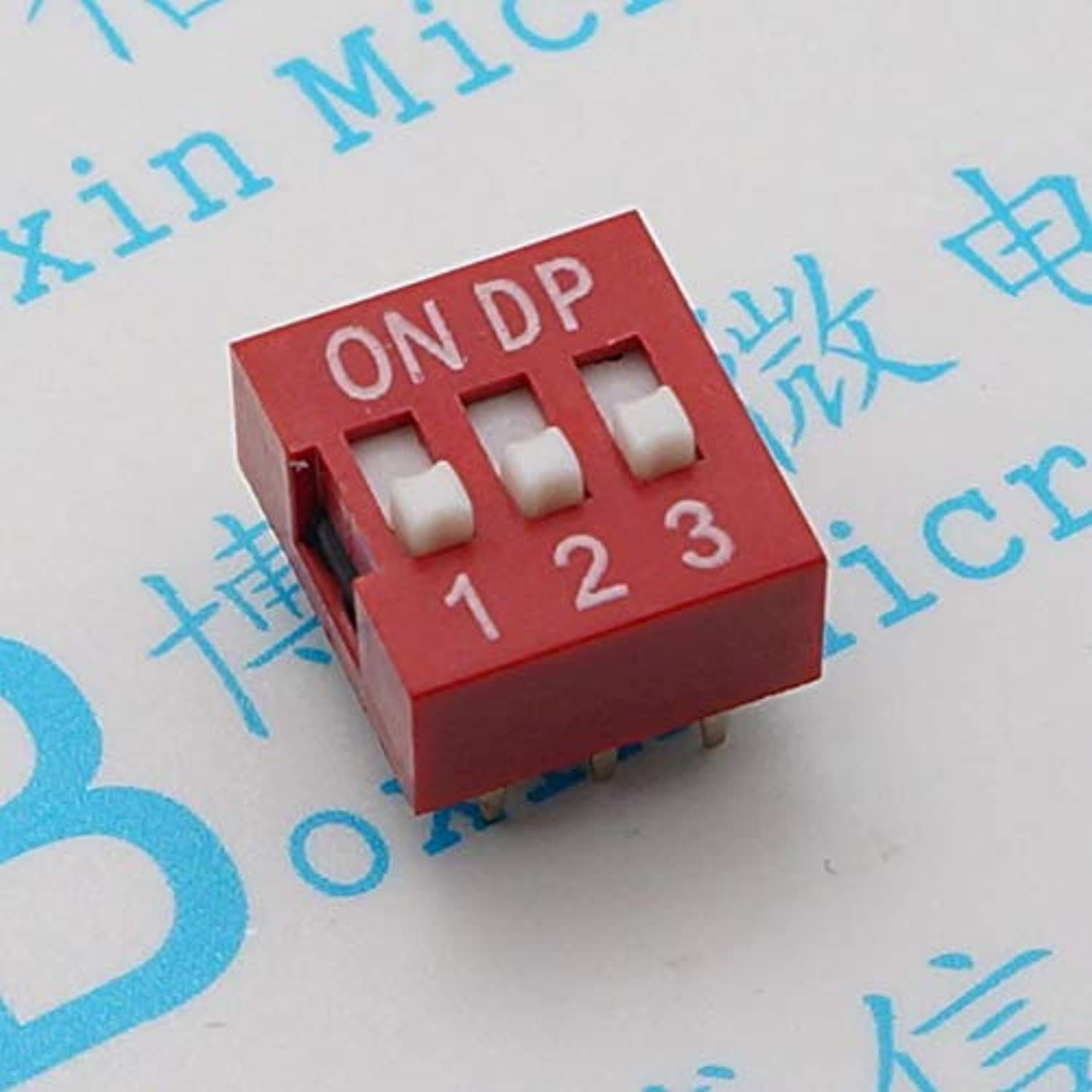 Red Three Toggle Switch 3 p 2.54 mm pin Pitch dial Code Coding Switch  (color  100pcas a Pack)