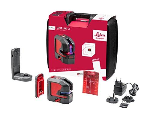 Leica Geossystems Leica Lino L2 - compacte kruislijnlaser met Li-Ion accu en innovatieve magnetische adapter, zwart, rood