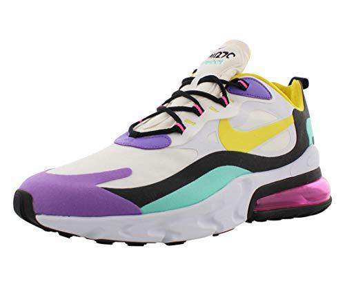 Nike Air Max 270 React Geometric Abstract AO4971-101, weiß/gelb (Dynamic Yellow)/schwarz/helllila, Weiß - Weiß Dynamisch Gelb Schwarz Helles Violett - Größe: 45.5 EU
