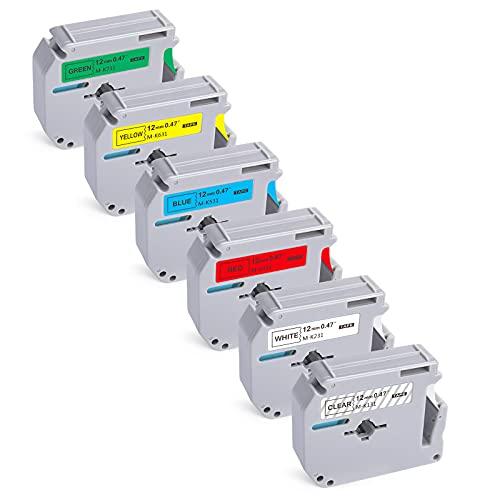6-Pack Compatible with Brother P-Touch M-231 M Tape M-K 131 MK 231 431 531 631 731 Label Tape for Brother PT-65 PT-90 PT-M95 PT-70BM PT-45 Label Maker Tape 12mm 0.5 Inch x 26.2 Ft
