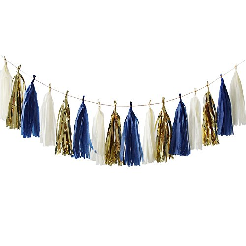NICROLANDEE 15 Pcs Navy Blue Tissue Paper Tassel Garland Gold Foil Art Party Garland for Wedding Baby Shower Bridal Shower Nautical Birthday Party Decor(Navy Blue)