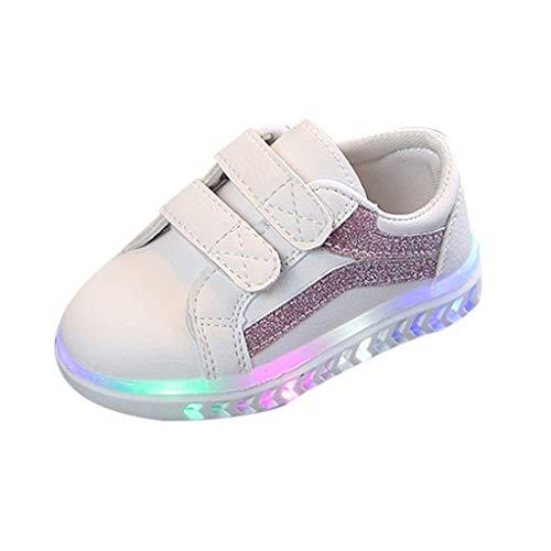 ZHANSANFM Unisex Kinder LED Sneaker Kinderschuhe Slip On Glitter Lauf Turnschuhe Mesh Elastisch Atmungsaktiv Laufschuhe Mode Outdoor Weiches Bunte Sportschuhe Jungen Mädchen 22.5 EU Rosa