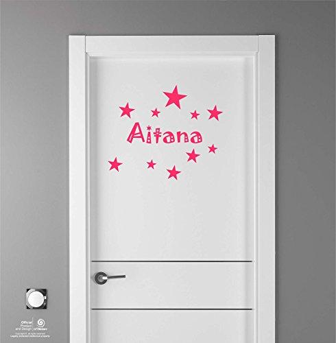 Artstickers Adhesivo Infantil para decoración de Muebles, Puertas, Paredes.Nombre: Aitana, en Color Rosa Nombre de 20cm + Kit de 10 Estrellas para Libre colocación.