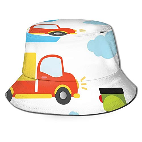 FULIYA Fisherman Senderismo Sombrero de ala ancha, tipos de transporte abstractos para niños pequeños, coche, barco, camión, scooter tren avión