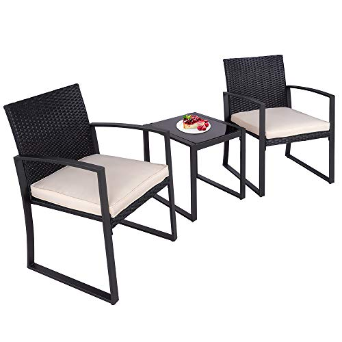 Walsunny 3 Pieces Patio Set Outdoor Wicker Patio Furniture Sets Modern Bistro Set Molded Rattan Chair Conversation Sets with Coffee Table for Backyard and Bistro (Beige)