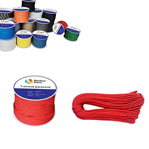 RainbowStone - Cuerda de paracaídas (7 Cuerdas, 550 Libras, 4 mm, Carrete de 15/30/50/100 m), Rojo Brillante, 30m Reel