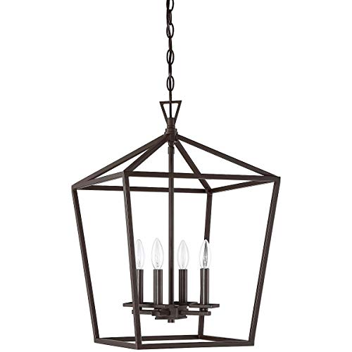 Sunset Lighting Provincial Bronze F3716-64 Raven Four Cage Pendant Ceiling Light-Dimmable