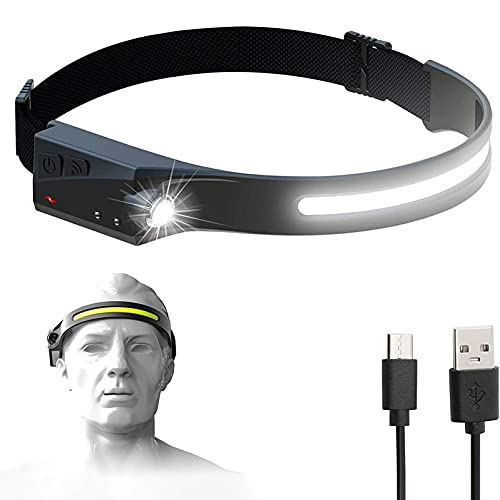 Linterna Frontal LED Recargable USB, Linterna de Cabeza Sensor Inteligente IPX4 Impermeable, Alta Potencia, 5 Modos de Uso Headlight para Correr, Acampar, Pescar, Ciclismo