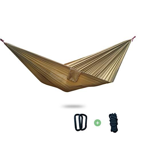 Hamacas Mobiliario de Camping Doble Adecuado for múltiples escenarios paracaídas Tela Resistente al Desgaste y Fuerte Carga de 250 kg (Color : Brown, Size : 270 * 140cm)