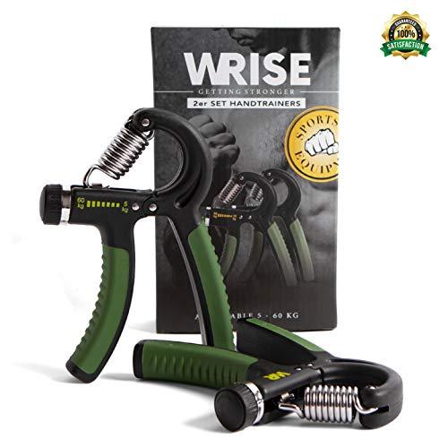 WRISE™ Handtrainer – Fingertrainer - Fingerhantel – Unterarm Kraft Trainingsgerät 2er Set Verstellbar Griffkraft Handmuskeltrainer - Widerstandsbereich 5-60kg - Mit Exklusive Trainingskarte