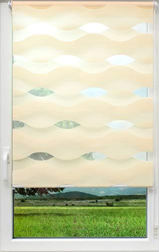 sunlines Welle Klemmfix, Creme, 60 x 150 Doppelrollo, PES, 60 x 150cm