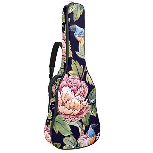 Bolsa Guitarra Electrica Primavera Floral Chino Funda para Guitarra Oxford impermeable Mochila...