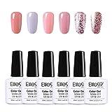 Elite99 Esmaltes Semipermanentes de Uñas en Gel UV LED, 6pcs Kit de Esmaltes de Uñas de Color Nude y Brillo Glitter 10ml 001