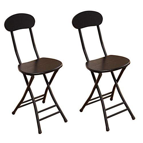 QIDI Set De Deux Selles Pliant Haute Chaise Petit Déjeuner Cuisine Doux Siège Capacité 264lbs (Couleur : Noir)