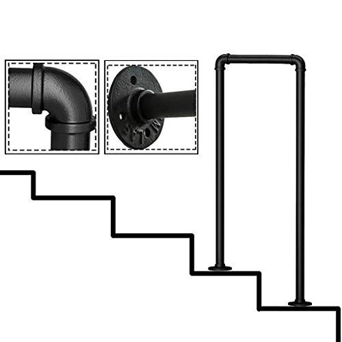 FS 2-Steps smeedijzeren trapleuningen, mat zwart U-Shaped hek, met installatie kit outdoor stap leuningen, 7 maten optioneel