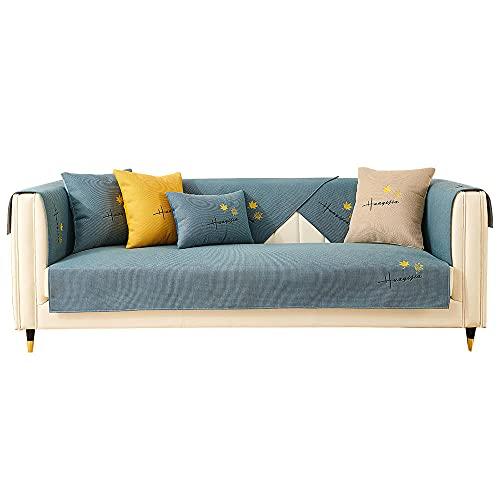 YUTJK Ahornblatt gestickte Bettwäsche Sofa Mat,Sofabezug Sofaüberwürfe Polyester in kleinen Stücken,Zusammensetzbar für die unterschiedliche Sofas,Blau_110×210cm