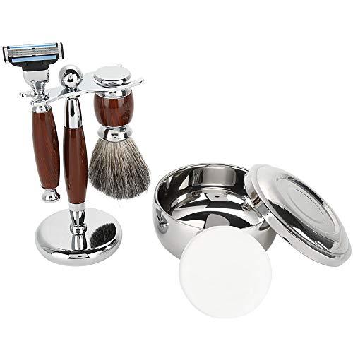 Kit de afeitado - Juego de afeitado for barba for hombres, con cepillo de pelo de tejón, Safety, soporte de afeitado, jabón de afeitar y tazón de acero inoxidable