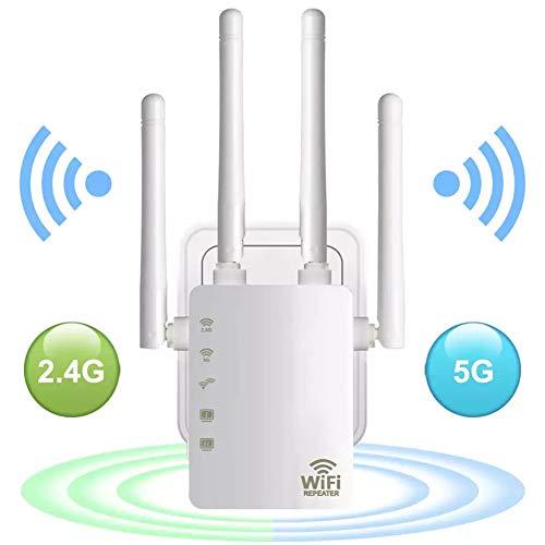 XUCHEN AC1200 de Doble Banda Wi-Fi Extender, inalámbrico Extensor de Rango, Cuatro...