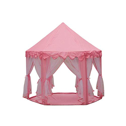 Barm Chiffon hexagonal children's playhouse,Foldable indoor and outdoor tent princess castle boys and girls play tent baby house decoration-pink