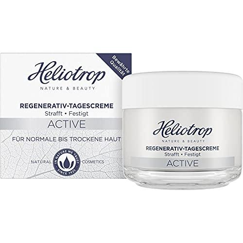 Heliotrop Feuchtigkeitsspendende Tagespflege für normale bis trockene Haut, Gesichtspflege mit Algenextrakt, Vitamin C und Rizinusöl, Active Regenerativ Tagescreme, 1 x 50 ml