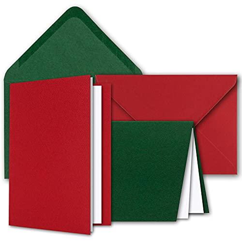 Kartenpaket DIN A6 + C6 in Rot und Grün - 50 Doppelkarten und 50 Briefumschläge - Mit 50 Einlege-Faltblättern - Karten mit Strukturprägung inklusive Geschenkschachtel