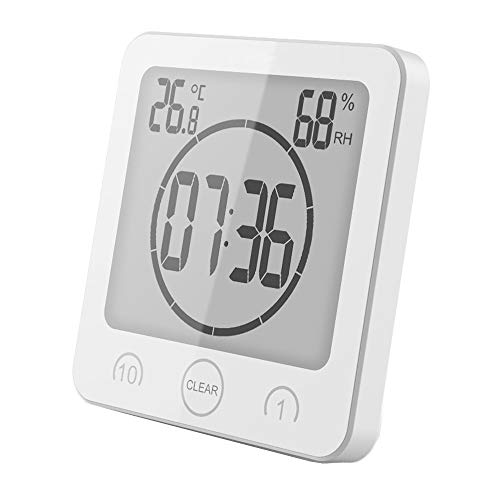 VORRINC Badezimmeruhr Digital Wecker Bad Uhr, Shower Clock mit Saugnapf LCD Display, Baduhr, Luftfeuchtigkeit Temperatur Wanduhren, Countdown Timer Für Dusche Küche (Weiß)