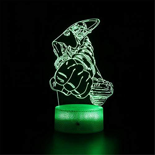 Lámpara de ilusión 3D 3D de una sola pieza mono D. LuffyC 16 colores cambiante automático interruptor táctil decoración escritorio Lámparas regalo de cumpleaños con control remoto