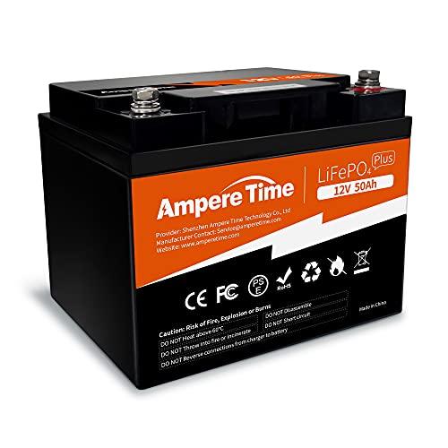 Ampere Time LiFePO4 Lithium-Batterie, 12 V, 50 Ah, idealer Ersatz für 12 V 100 Ah AGM SLA-Batterie, effizientere Leistung und viel leichter, mehr als 4000 Zyklen, perfekt für Boot, Sicherheitsgeräte, Camping usw.