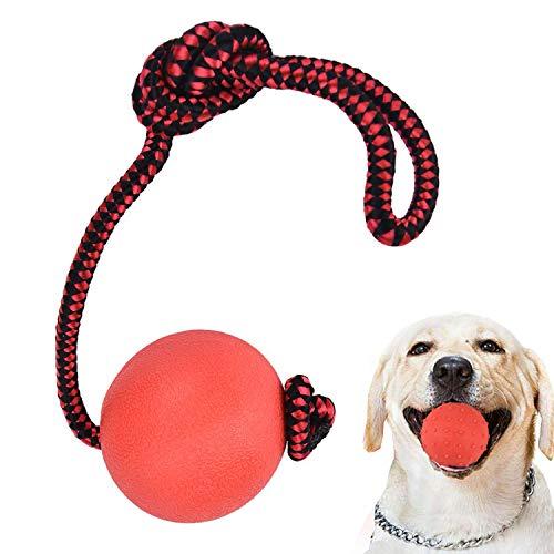 Enzege 3 Stück Hundespielzeug Ball, Naturkautschuk Wurfball Hund mit Seil, Schleuderball für Hunde