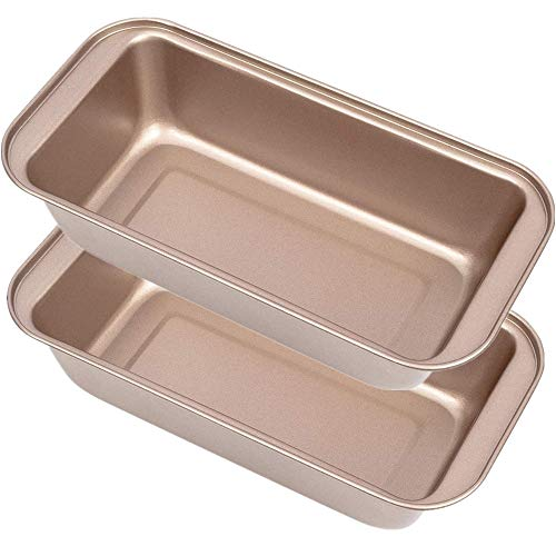 Mokpi Non-Stick Loaf Pan Toast Mold Baking Bread Pan Oven Safe Bakeware (Champagne Gold, 8.5×4.5 Inch)