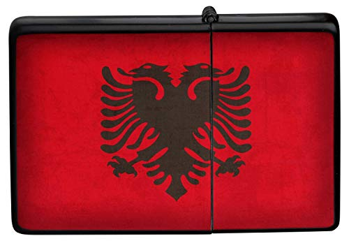 LEotiE SINCE 2004 Feuerzeug Schwarz Benzinfeuerzeug Sturmfeuerzeug Metallfeuerzeug Albanien Flagge