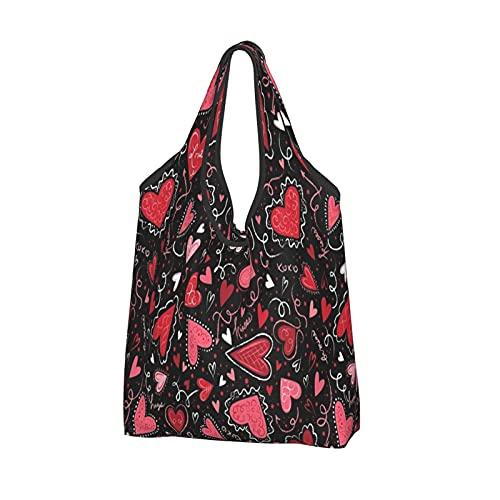 MSINCUDJ Bolsos de la compra para las mujeres Bolsos de hombro plegables reutilizables Bolsos de la compra-Corazones de amor en negro