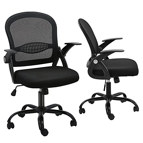 Office Chair, Ergonomic Mesh Desk Chair Mid Back with Lumbar Support Adjustable Height Computer Chair Flip UP Armrest Swivel Task Chair for Home Office