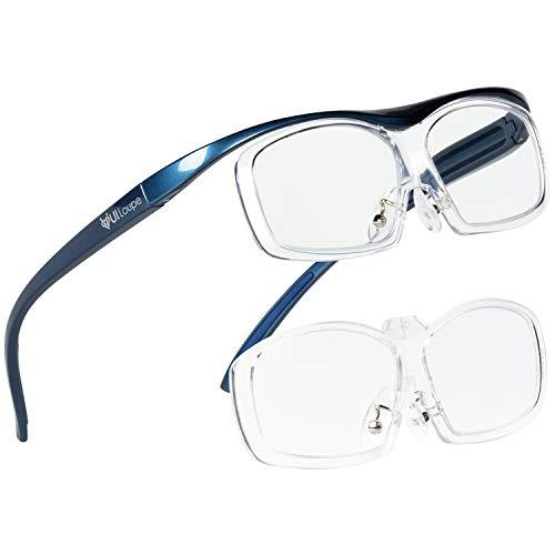 Kenko メガネ型拡大鏡 YUIルーペ レンズ交換式 ラージサイズ 倍率1.6倍/1.89倍2枚セット ブルー KTL-5107L-BL
