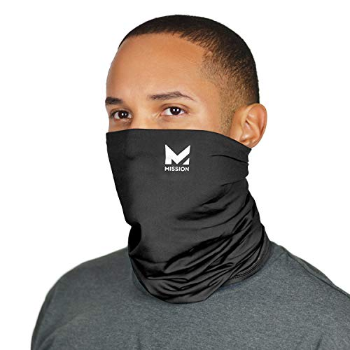Mission Cooling Neck Gaiter Customize Your Coverage, Face Mask, Cools when Wet- Black