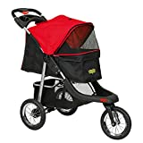 VIAGDO Premium Heavy Duty Pet Stroller for Small Medium Dogs & Cats, 3-Wheel Cat Stroller, Foldable Dog Stroller with Suspension System/Link Brake/One-Hand Fold, Max. Loading 55 LBS (Black&Red)