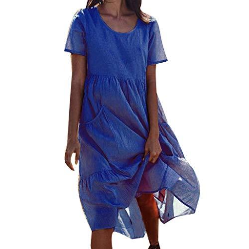 VEMOW Tops Vestido de Playa de algodón y Lino de Manga Corta de Bolsillos para Mujer Falda(Azul,3XL)