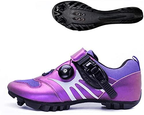 KUXUAN Calzado de Ciclismo para Hombre,Zapatillas de Ciclismo MTB,Zapatos de Ciclismo de Montaña,Adultos Unisex,Purple-41EU