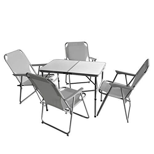 Wohaga 5tlg. Campingmöbel Set Campingtisch \'Bergen\', Aluminium, 90x60cm + 4X Campingstuhl, Hellgrau/Strandmöbel Campinggarnitur Gartenmöbel