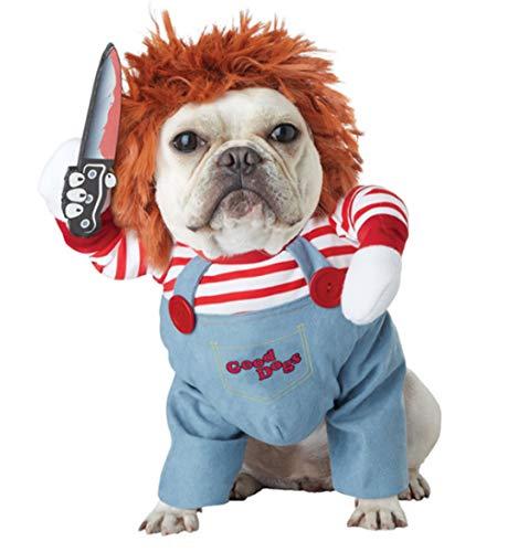 Ranvi Disfraz de Mascota Adorable de muñeca Fatal, Disfraz de Perro de Halloween, Disfraz de Cosplay de Perro Ajustable, Peluca de muñeca Fatal Divertida, Disfraz de Fiesta de Perro Pug(L)